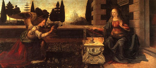 The Annunciation - Leonardo Da Vinci - Uffiizi Gallery